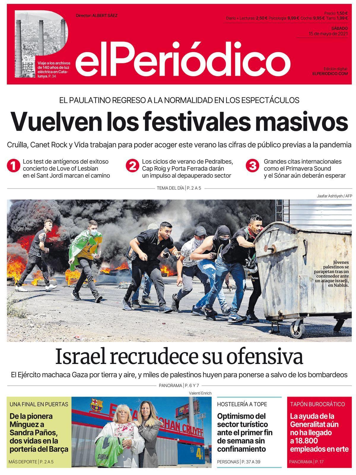 La portada de EL PERIÓDICO del 15 de mayo de 2021