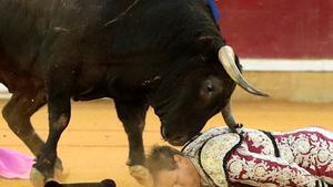 Cogida del banderillero Mariano de la Viña durante la faena de Enrique Ponce a su segundo toro.