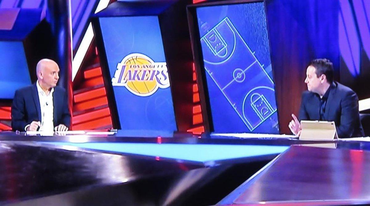 Guille Giménez y Antoni Daimiel amenizaron con sus chascarrillos el primer duelo de la NBA.
