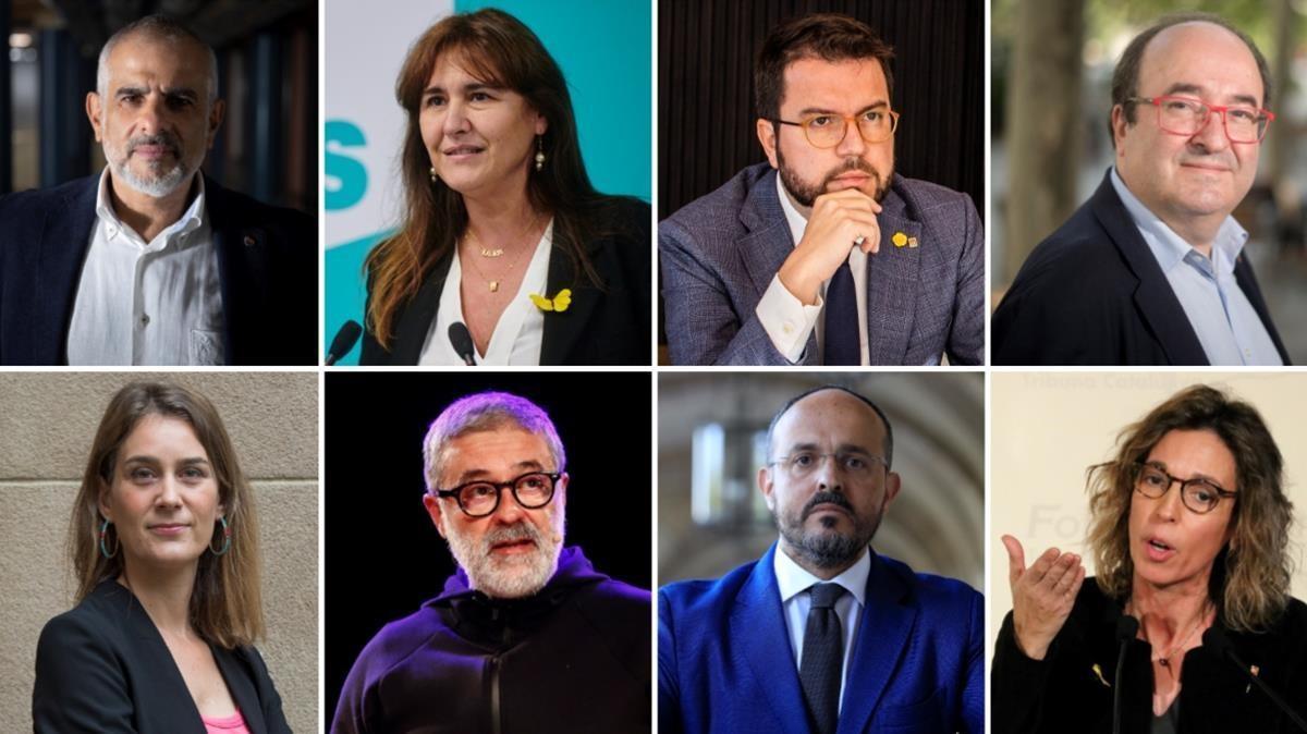 COMBO  politica  fotos de los 8 candidatos a la Generalitat en este orden   Carlos Carrizosa   Laura Borras   Pere Aragones   Miquel Iceta   Jessica Albiach    Carles Riera    Alejandro Fernandez    Angels Chacon