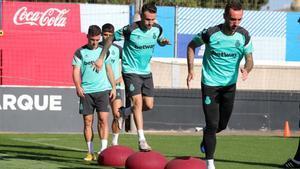 La plantilla del Espanyol, en el entrenamiento de este sábado.