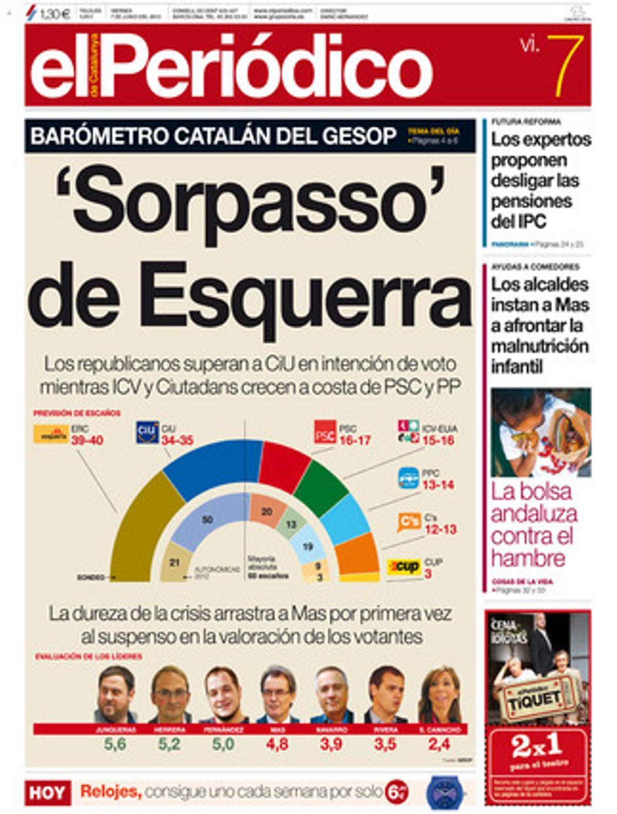 La portada de EL PERIÓDICO (7-6-2013).