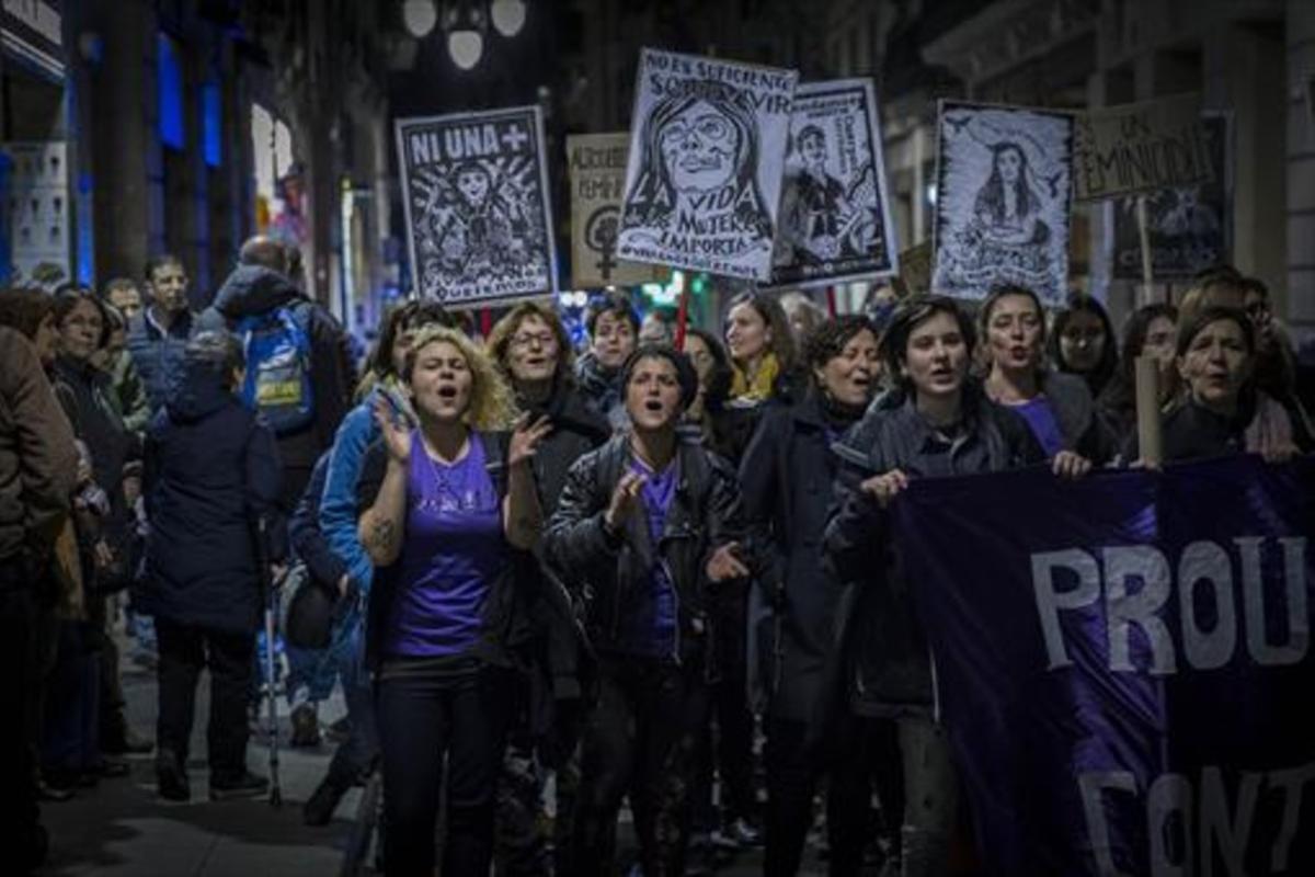 Manifestación contra la violencia machista, el pasado 15 de febrero en Barcelona.