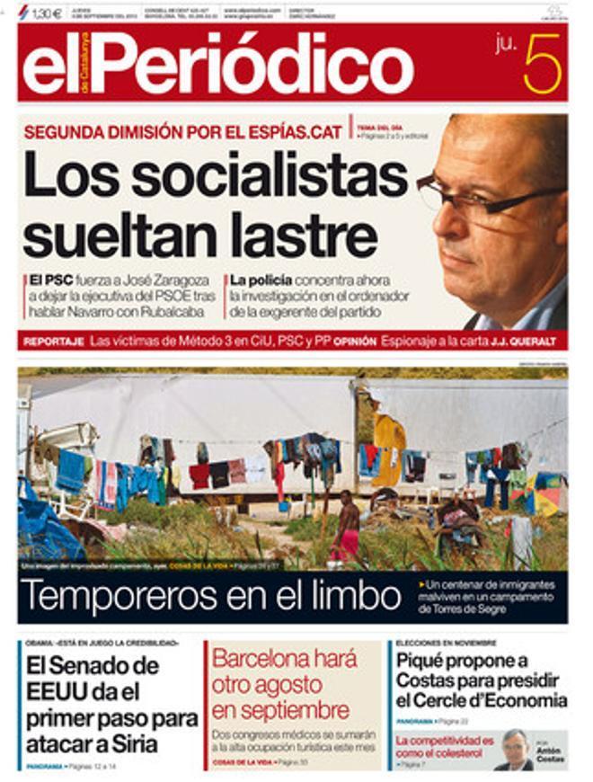Portada de EL PERIÓDICO del 5 de septiembre.