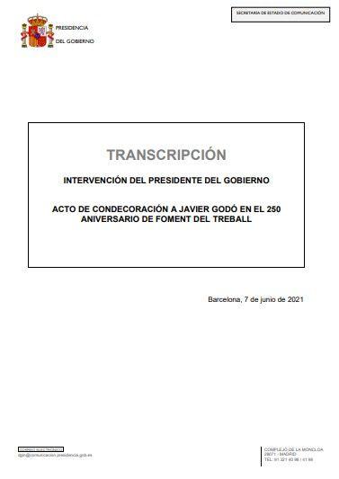 Discurso de Pedro Sánchez en el acto de Foment del Treball en Barcelona, este 7 de junio de 2021.