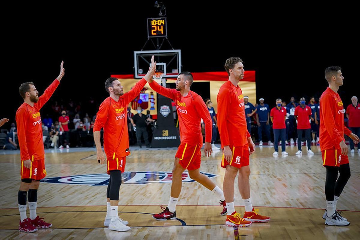 Una imagen de la selección de baloncesto, con Pau Gasol en primer plano, antes del amistoso con EEUU