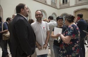Oriol Junqueras,Benet Salellas, Anna Gabriel y Gabriela Serra durante la presentación de la ley del referéndum.