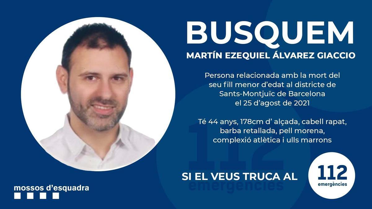 Imagen del anuncio de los Mossos con el nombre y la fotografía del padre del niño asesinado en un hotel de Barcelona.