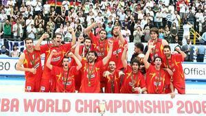 La selección española celebra su primer Mundial, el 2006 en Saitama.
