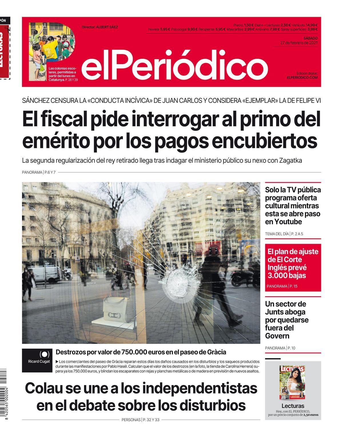 La portada de EL PERIÓDICO del 27 de febrero de 2021