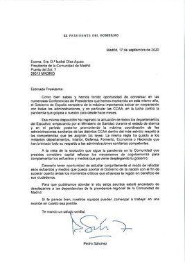 Carta del presidente del Gobierno, Pedro Sánchez, a la presidenta madrileña, Isabel Díaz Ayuso, para mantener una reunión conjunta en Sol con el fin de abordar la crisis sanitaria por el covid-19.