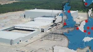 Imagen de fondo: Obras de construcción de la gigafábrica de baterías de litio de Northvolt en Suecia