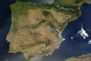 La península ibérica, vista desde un satélite de la NASA.