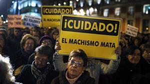 Manifestación en el Día Contra la Violencia Machista celebradaen Madrid en el2013.