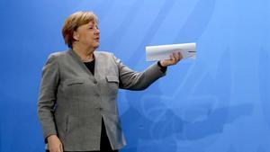 La cancillera alemana, Angela Merkel, durante una rueda de prensa en Berlín.