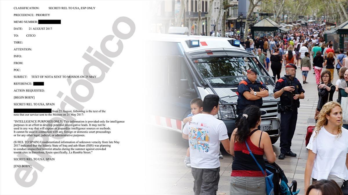 Documento reservado enviado el 21 de agosto por la inteligenciaestadounidense a la española confirmando que el 25 de mayo se cursó la alerta a los Mossos.