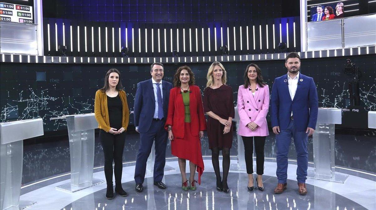 Los seis candidatos en el debate de TVE.