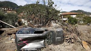 Paisaje tras las inundaciones en Breil-sur-Roya, en el sur de Francia.