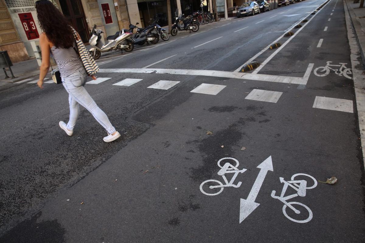 La nueva señalización en el carril bici para alertar a los peatones, en la calle de Girona.
