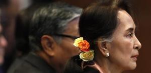 La líder birmana Aung San Suu Kyi, en el juicio por el genocidio de la minoría rohinya que se celebra en La Haya.