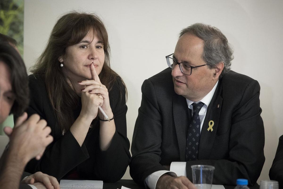 Laura Borràs y Quim Torra, en una reunión de JxCat.