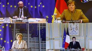 Videoconferencia entre Charles Michel, Angela Merkel, Ursula Von de Leyen y Emmanuel Macron.