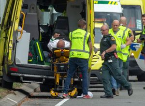 An injured person is loaded into an ambulance following a shooting at the Al Noor mosque in Christchurch, New Zealand, March 15, 2019. REUTERS/SNPA/Martin Hunter  ATTENTION EDITORS - NO RESALES. NO ARCHIVES     TPX IMAGES OF THE DAY