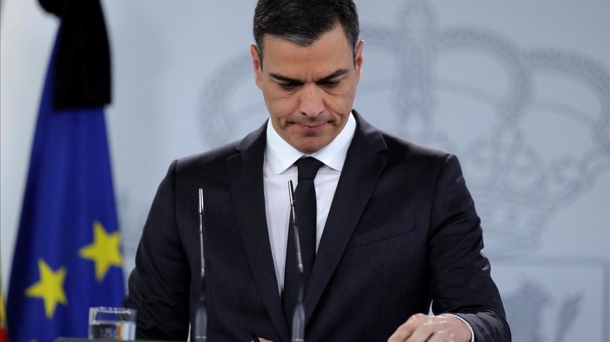 El presidente del Gobierno, Pedro Sánchez, en rueda de prensa en la Moncloa.