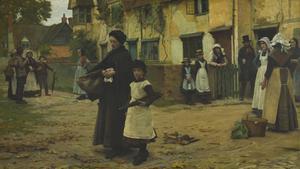 'Desalojo', pintura de 1887 que recoge el desahucio de una mujer y su hija. Se expone en una galería de arte de Queensland (Australia)