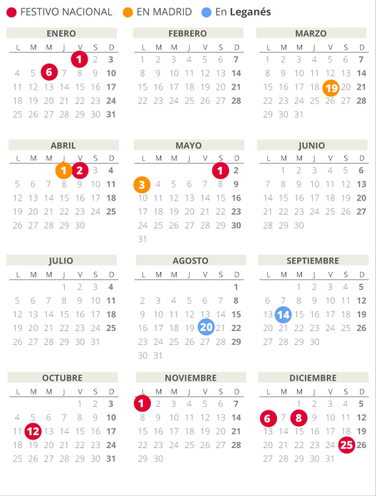 Calendario laboral de Leganés del 2021.