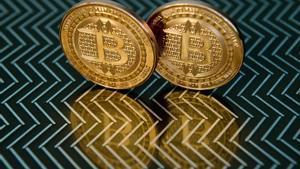 Medallas de la moneda virtual bitcóin.