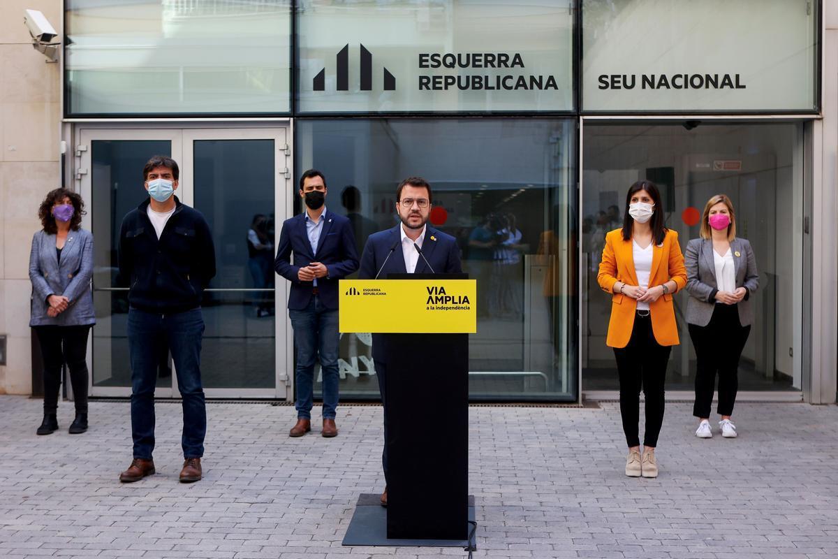 Pere Aragonès, en rueda de prensa junto a otros dirigentes de ERC