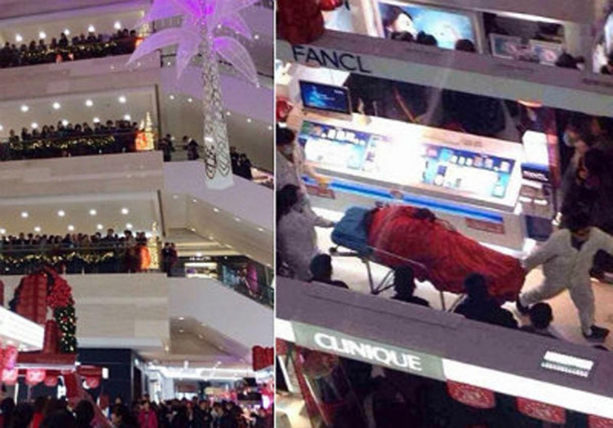 Aspecto del centro comercial Golden Eagle Internacional y del momento en que los camilleros se llevan el cuerpo de Tao Hsiao.