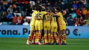 Las jugadoras del FC Barcelona celebran el pase a la final de la Supercopa de España