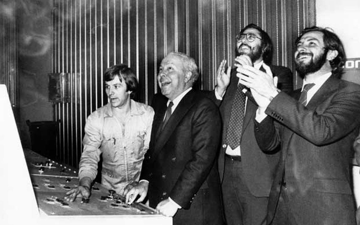 Polanco, Franco y Cebrián, en el estreno de la rotativa en la Zona Franca