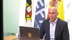Rubiales, en la conferencia por vía telemática con la UEFA y el presidente Aleksander Ceferin.