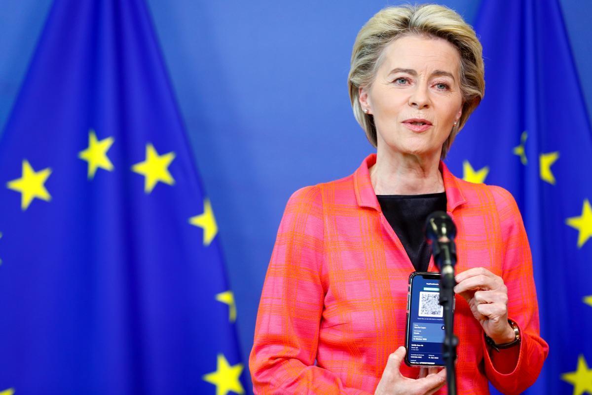 La presidenta de la Comisión Europea, Ursula von der Leyen, en Bruselas.