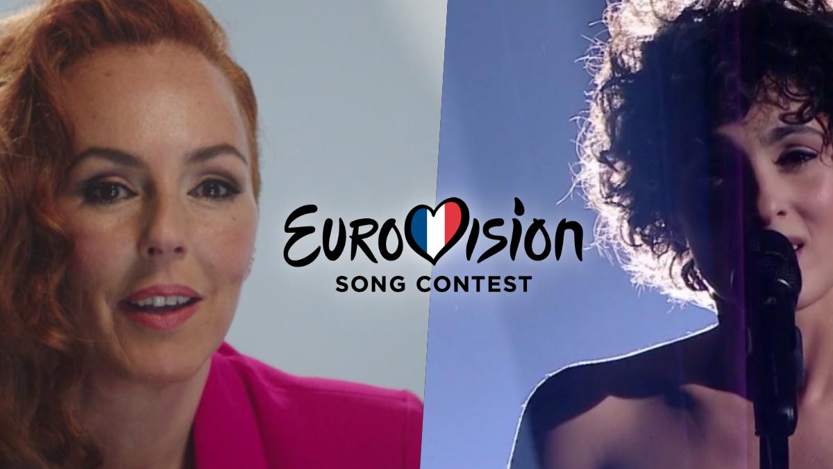 Rocío Carrasco y Barbara Pravi interpretando 'Voilà' en 'Eurovision France: C'est vous qui décidez'