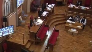 El momento de la declaración del asesino confeso de una niña en Vilanova y la Geltrú, en le juicio celebrado en la Audiencia de Barcelona.