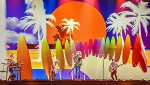 Manel Navarro, durante su segundo ensayo en el escenario de Eurovisión, en Kiev (Ucrania).