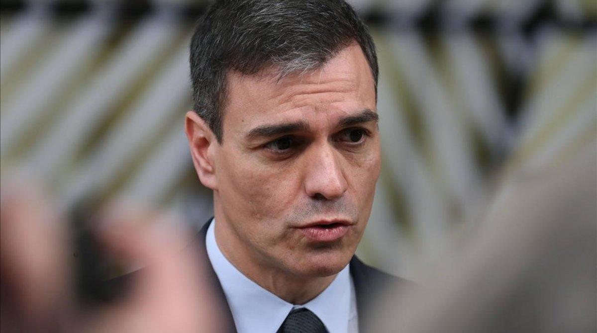 El presidente del Gobierno, Pedro Sánchez, a su llegada al Consejo Europeo, el jueves.