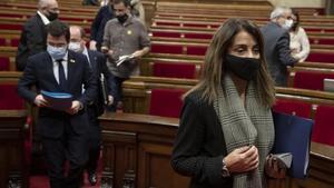 Meritxell Budó y Pere Aragonès, el 18 de noviembre en el Parlament.
