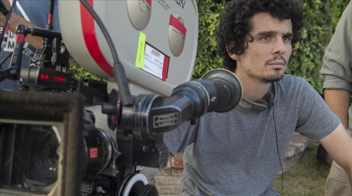 El director Damien Chazelle, en el rodaje de 'La La Land'.