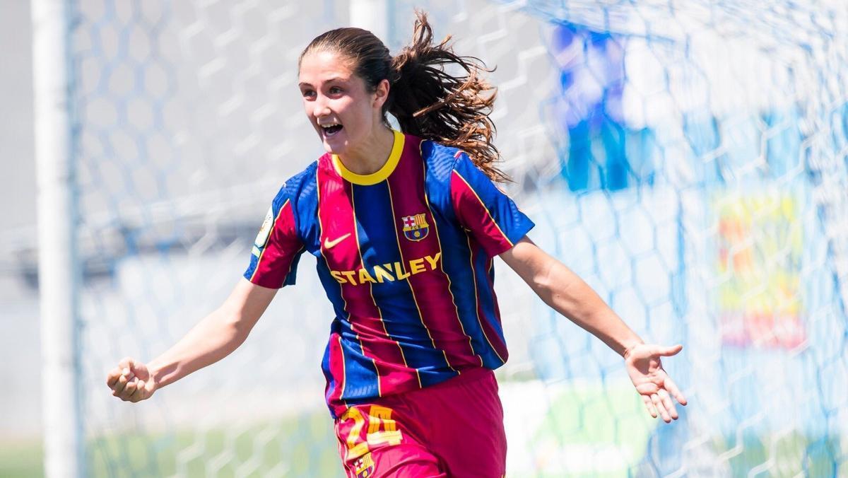 Bruna Vilamala celebra el gol de la victoria en Tenerife.