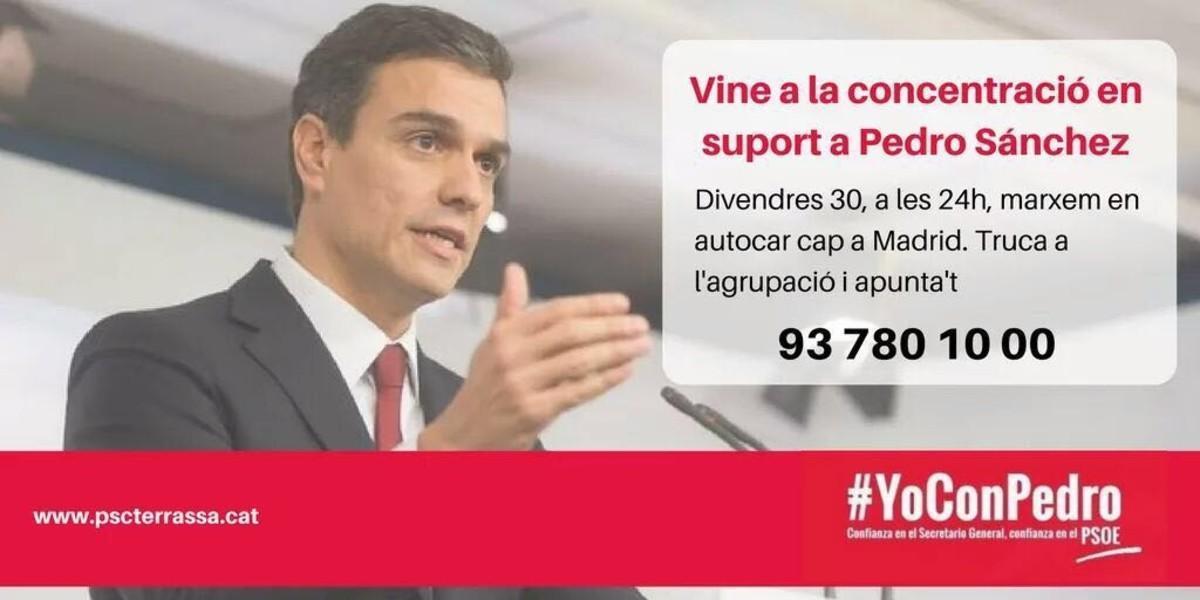 Convocatoria del PSC de Terrassa difundida por las redes sociales.
