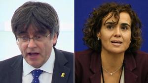 Rifirrafe entre Carles Puigdemont y Dolors Montserrat en el Parlamento Europeo.