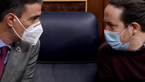 Sánchez e Iglesias, en el Congreso el pasado 24 de marzo.