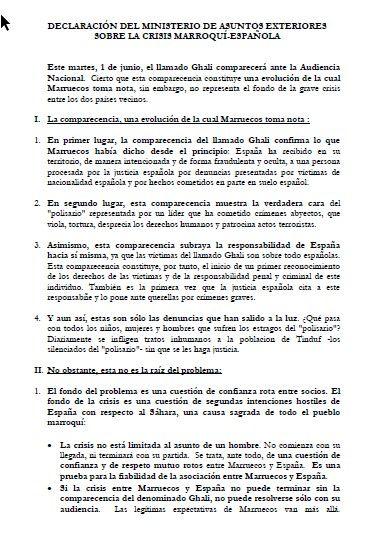 Comunicado del Ministerio de Exteriores marroquí sobre la crisis con España