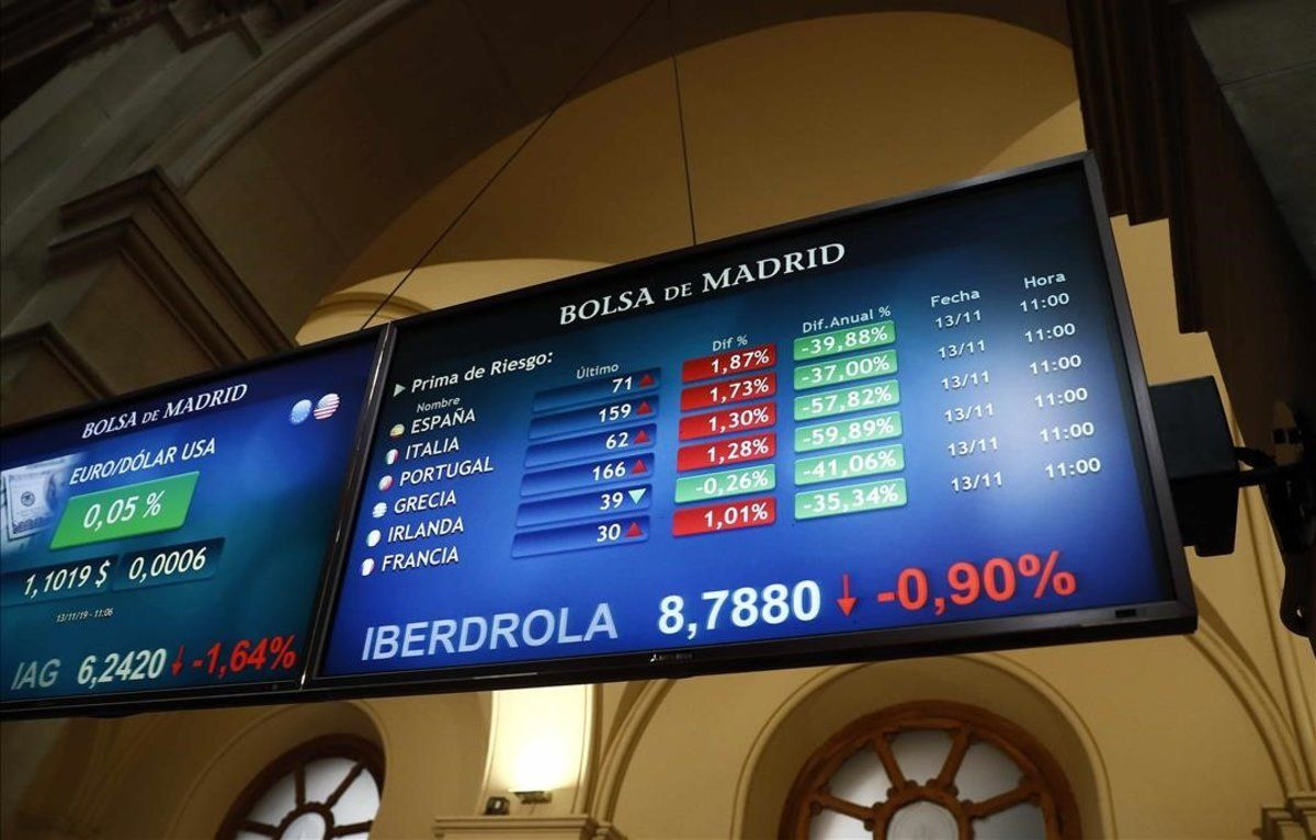 Panel de cotizaciones de la Bolsa de Madrid.