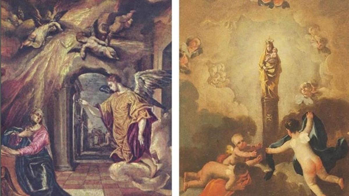 'La Anunciación', de El Greco, y 'La aparición de la virgen del Pilar', de Francisco de Goya.